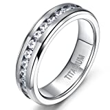 Men Women's 6mm Flat Silver Eternity Titanium Rings Round White Cz Inlaid Wedding Engagement Band Size 6 to 21
