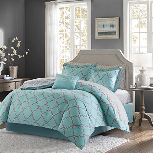 Madison Park Essentials Merritt Cal King Size Bed Comforter Set Bed In A Bag - Aqua Grey, Geometric – 9 Pieces Bedding Sets – Ultra Soft Microfiber Bedroom - Contemporary Bedroom King California Set