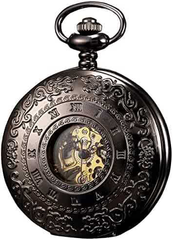 KS Half Hunter Mechanical Pocket Watch Roman Number Half Hunter Antiqued Black Case KSP044