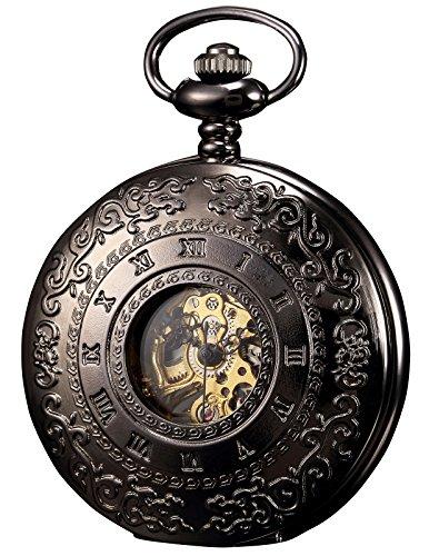 KS Mechanical Pocket Watch Roman Number Half Hunter Antiqued Black Case KSP044 ()