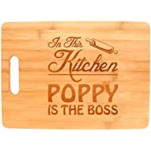 Father's Day Gift for Grandpa In This Kitchen Poppy is the Boss Big Rectangle Bamboo Cutting Board