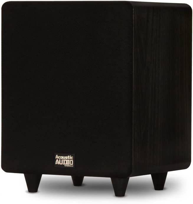 "Acoustic Audio PSW300-8 Home Theater Powered 8"" LFE Subwoofer Black Front Firing Sub"