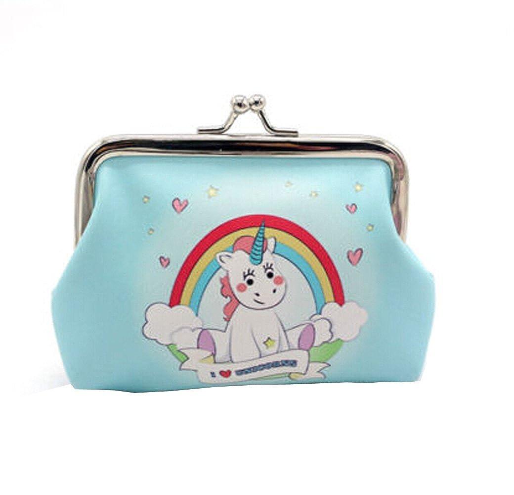 Ladies Unicorn Print Long Coin Purse Womens Wallet Card Holder Mini Pouch Bag Clasp Closure