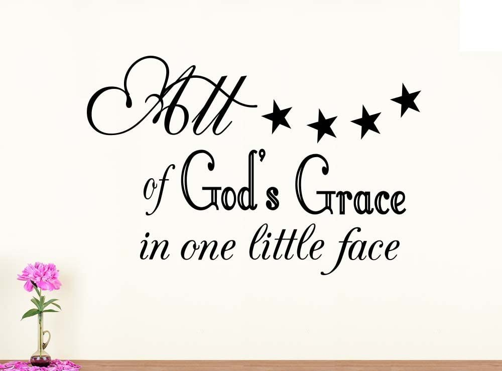 Amazon Com Wall Decal All Of God S Grace In One Little Face Nursery Vinyl Saying Lettering Wall Art Inspirational Sign Wall Quote Decor Home Kitchen