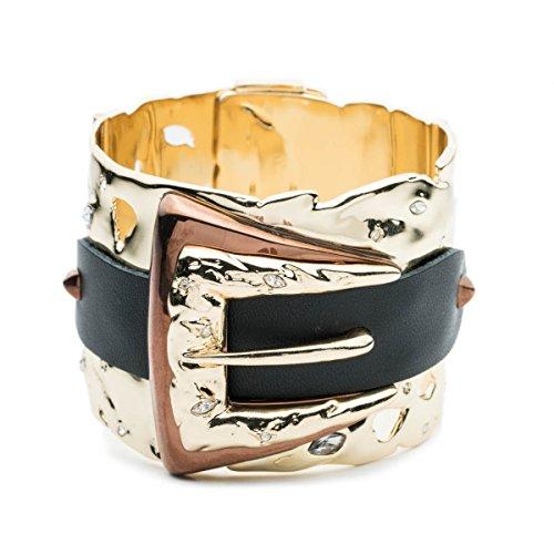 Alexis Bittar Large Hinge Bracelet Buckle Cuff Bracelet W/Leather Detail & Swarovski Crystal Accent by Alexis Bittar (Image #1)
