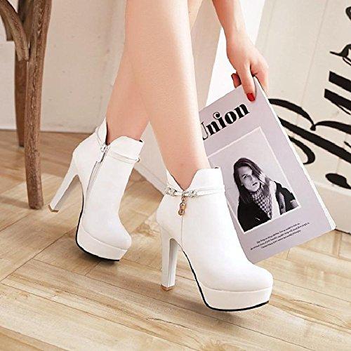 Haut Bottes Haut Étanche Talons Chaussures Des Mode Femmes Côté Femmes De KHSKX Chaussures Des Couleur Les Fermeture Épais Doux Chaussures white Visage E4SxwqWX
