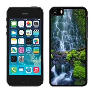 Beautiful Designed Antiskid Cover Case For iPhone 5C Phone Case With Enchanting Waterfall HD_Black Phone Case