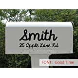 Personalized Mailbox Decal Sticker, Name, Set of 2 House Number and Street Name Vinyl Letters (Basic (11x5.5))