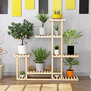 MILUCE Anti - Corrosion solid wood flower pot rack 5 layer combination balcony plant display stand ( Color : Natural , Size : L )