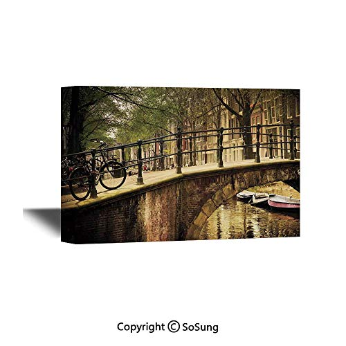 Landscape Canvas Wall Art,Romantic Bridge Over Canal Amsterdam Netherlands European Famous Northern City Photo,Giclee Print Gallery Wrap Modern Home Decor Ready to Hang,36x24 inch