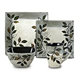 Pfaltzgraff Everyday Rustic Leaves Square 48 Piece Dinnerware Set, Service for 12