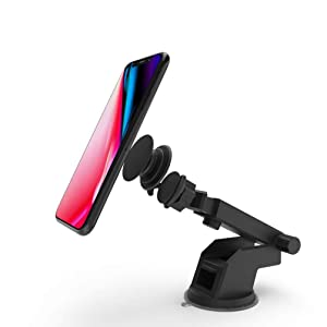 X-super Dashboard & Windshield Cell Phone Holder Mount Compatitable for Pop Sockets with Collapsible Grip 360°Rotation Anti-Skid Base Suction Cup(Black)