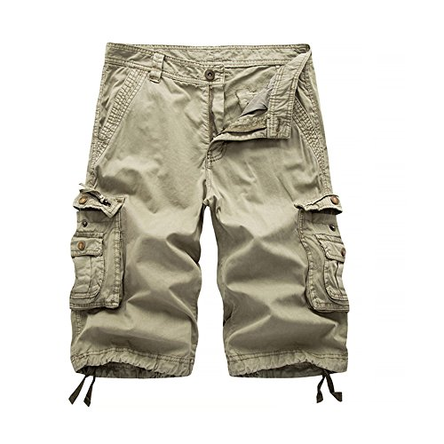 NiuZi Men's Loose Fit Twill Cargo Shorts Cotton Multi-Pocket Lightweight Outdoor Cargo Camouflage Shorts (Khaki, Label 31/US (Cotton Twill Sport Short)