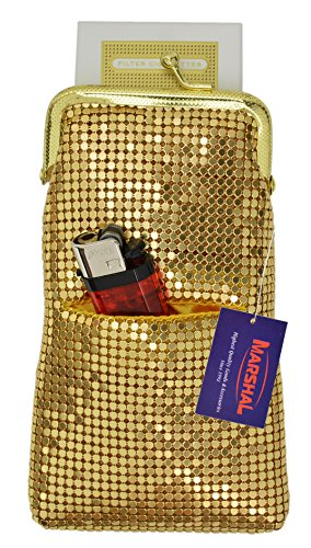 New Design Sequin Cigarette Soft Mesh 100s 120 S Cigarette Case By Marshal (LighterPocket Gold) ()