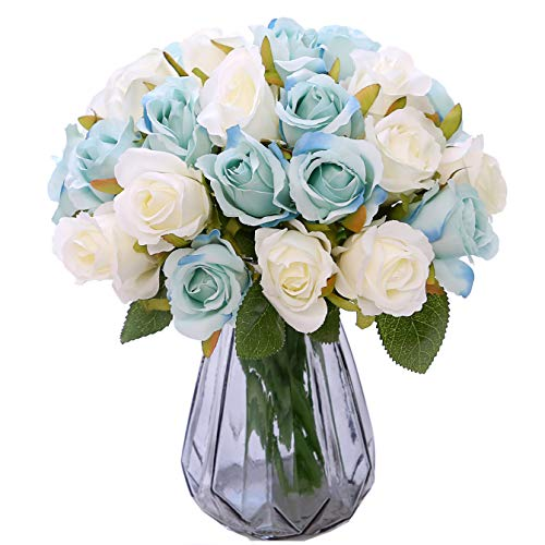NYRZT Artificial Flowers Silk Roses 12 Heads Bridal Wedding Bouquet Decoration Table Centerpieces Home Garden Party Decor - 2 Pack of 1 (Light Blue/White) (Flower Centerpiece Blue Table)