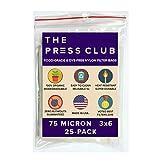 "75 Micron | Premium Nylon Tea Filter Press Screen Bags | 3"" x 6"" | 25 Pack | Zero Blowout Guarantee | All Micron & Sizes Available"