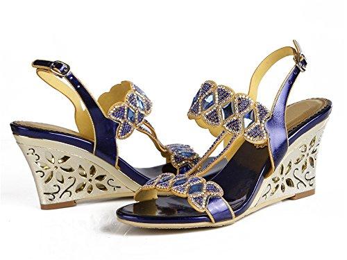 Con Zpl Della Partito Dimensioni Da Abito Promenade Diamante Zeppa Blu Donne Del Scarpe Sandali Da Sera Cinghia Sposa Delle Caviglia Signore aZtqfx8dw8