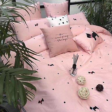 DB&PEISHI Contemporary Poly/Cotton Printed Poly/Cotton 1pc Duvet Cover 2pcs Shams 1pc Flat Sheet , pink , 200cm230cm