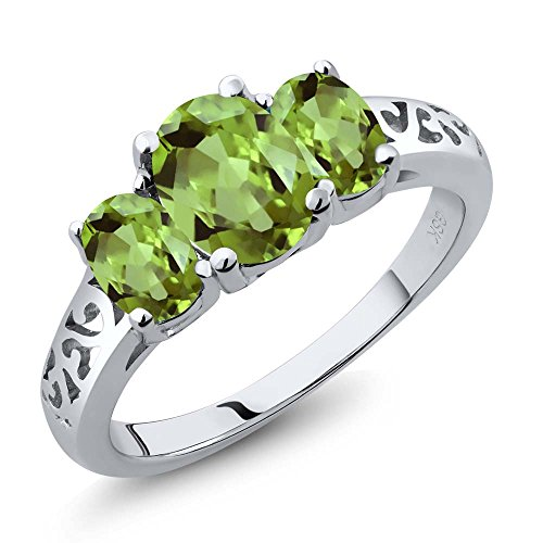2.15 Ct Oval Green Peridot Gemstone 925 Sterling Silver Women's 3 Stone Ring (Ring Size (Green Peridot Gemstone)