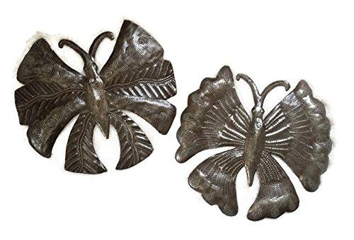 Garden Butterflies, Haitian Metal Art, Recycled Oil Drums, Indoor and outdoor, (set of 2) 10'' x 10'' by it's cactus - metal art haiti