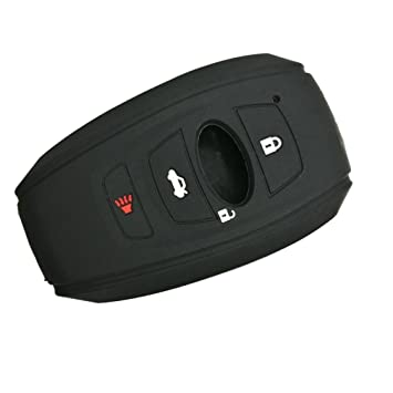 MJKEY 4 Buttons Black Silicone Rubber Smart Remote Key Fob Skin Key Cover Holder Jacket Protector for Subaru Forester Sti Outback XV Crosstrek Impreza BRZ WRX HYQ14AHC Auto tool