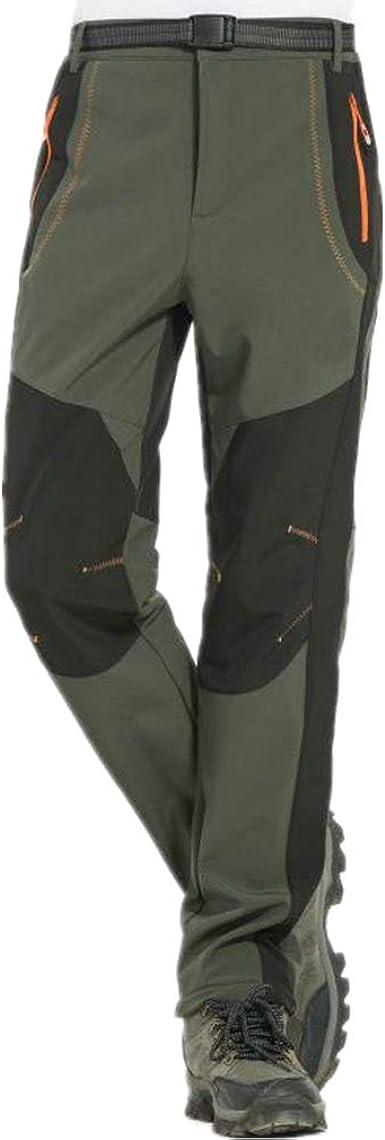 hibote Mujer Hombre al Aire Libre de Estiramiento de Fleece Forrada Senderismo Pantalones de Escalada Pantalones de Carga de montaña Transpirable para ...