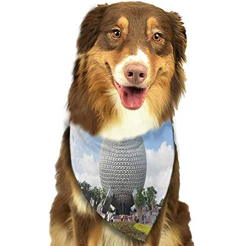 Boys/Girls Pet Puppy Dog Cat Bandanas, Most Popular Amusement Parks In The World Epcot Florida Pattern printing, Dog Patterns Scarf for Small,Medium Size Dog,Large Cats, 18x18-L 27.5 inches