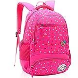 Primary School Bag Backpack for Girls 7-12 Years Old, Uniuooi Waterproof Nylon Travel Rucksack Multi Compartment Kids Children Book Bag (Rose)