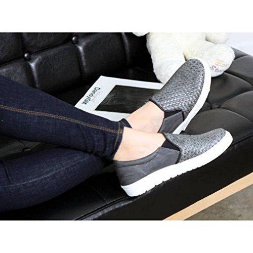 Epicstep Donna Casual Wooven Comfort In Ecopelle Slip On Flats Moda Sneakers Mocassini Scarpe Grigie