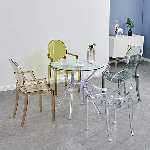 Fauteuil Transparent Salle D'étude Salon Chaise De Salle À Manger en Cristal Chaise Antidérapante Amovible Chaise De Maquillage Minimaliste Moderne,14