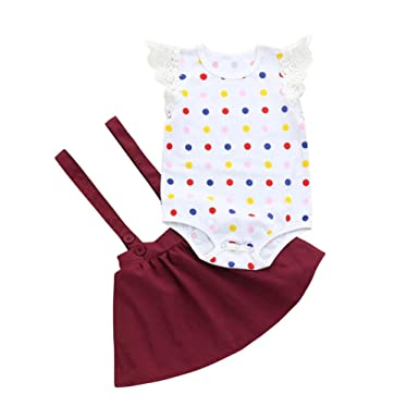 7827ca54b6f Jchen TM 2Pcs Infant Baby Girls Dot Print Lace Rompers Strap Skirt Outfits  Summer Set (
