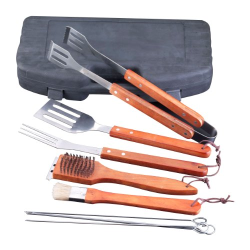 flyingcolors-stainless-steel-barbecue-tool-set-plasitc-storage-case-wood-handle-9-pieces