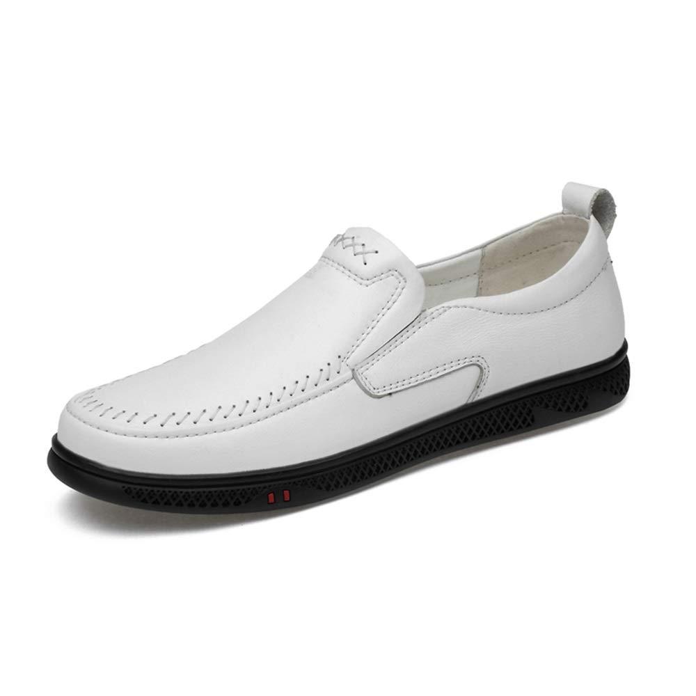 YJiaJu Herren Driving Schuhe Casual Loafer Komfortable perforierte Flache Flache Flache Slip On Echtes Leder oberen runden Zehengummi Trendy Business Herren Slipper Bequeme Laufsohle  552ea9