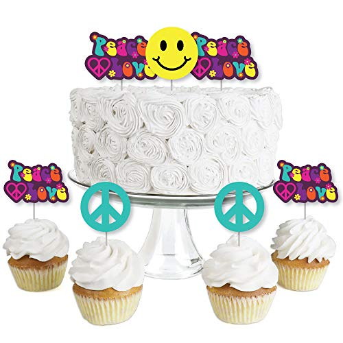 60's Hippie - Dessert Cupcake Toppers - 1960s Groovy Party Clear Treat Picks - Set of 24 ()