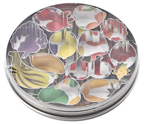 Italo Ottinetti Set 12 Fruit Shaped Cookie Cutters, Tin, Metallic, One Size