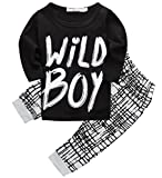 Canis Toddlers Baby Boys Clothes Set Long Sleeve Wild Boy T-Shirt Tops Pants Outfit Winter Spring (70(0-6M),Black+White)