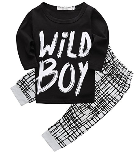 Canis Toddlers Baby Boys Clothes Set Long Sleeve Wild Boy T-Shirt Tops Pants Outfit Winter Spring (90(12-18M),Black+White)