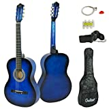 Smartxchoices 38'' Acoustic Guitar for Beginners Kids 6-string with Guitar Bag, Strap, Extra Set of Strings and Pick Right Handed … (Blue)