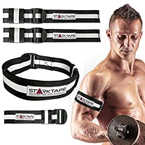 Starktape Blood Flow Restriction Bands | 4 Pack Occlusion Bands, 2 Inches Width for Arms and Legs Training | Gain Fast Muscle Growth Without Lifting Heavy Weights | Strong Elastic Biceps Straps, Quick Release