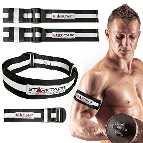 Occlusion Training Bands | Set Pack of 4 Blood Flood Restriction Bands for Arm and Legs, 2 Inches Width | Elastic Muscle Weight Lifting Straps, Bicep Blaster | Quick Release Tourniquet by Starktape