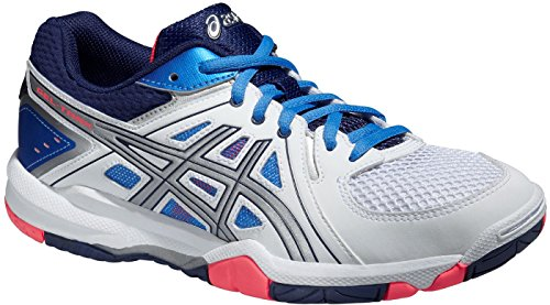 Asics Gel-task, Damen Volleyballschuhe WHITE/POWDER BLUE/FLASH CORAL