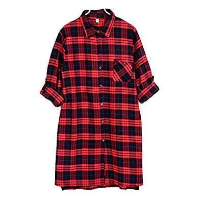 ROPALIA Women Red Plaid Boyfriend Top Bouse Long T Shirt Dress Coat