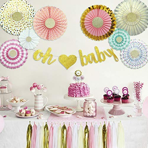 Baby Shower Decorations with Oh Baby Banner Paper Fans Princess Cake Topper and Tassels Kit for Girls Royal Princess Decor Party Supplies (Pink Gold Cream 37 Pieces) ()