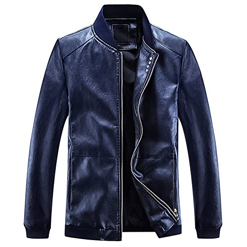 Leather Straight Collar Coat (CloSoul Direct Men's Classic Fit Faux Leather Military Jacket Casual Waterproof Motorcyle Bomber Jacket Windbreaker Outerwear/Blue)