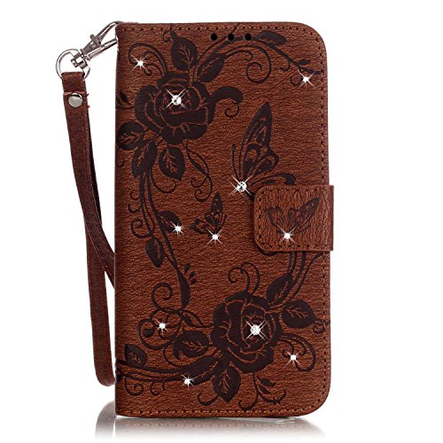 Samsung Galaxy S7 Edge Cuero Funda de Piel Tipo Libro con Tapa, Funda Cuero y Billetara para Samsung Galaxy S7 Edge, TOCASO Multi-Colors Fashionable Pattern Flor en Relieve Cover Fina con Ranura Para  Marron