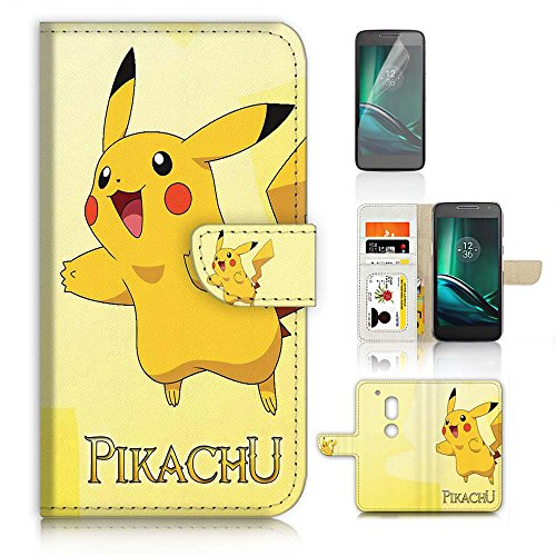 Moto ( G4 Play ) Flip Wallet Case Cover & Screen Protector Bundle! A20031 Pokemon Pikachu Photo - Pokemon Gaming