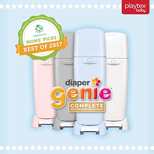 51rd7IVjkCL - Playtex Diaper Genie Complete Pail With Built-In Odor Controlling Antimicrobial, Includes Pail & 1 Refill, White