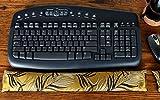 Candi Andi - Ergonomic Keyboard Wrist Rest Pad - Satin Brocade & Crushed Velvet - Lavender Scented - Black Fern - TWRL-BF