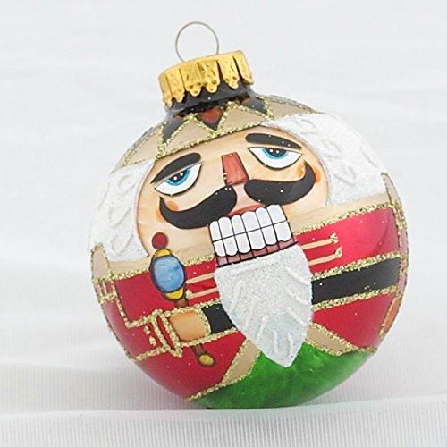 Design Glass Ball Christmas Ornament (Kurt Adler Nutcracker Design Glass Ball Ornament, 65mm, Set of)
