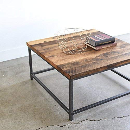 Square Stoic Reclaimed Wood Coffee Table/Steel Box Frame (Table Wood Frame Farmhouse)